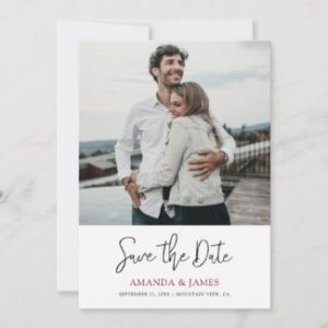 Simple modern wedding save the date invites with photo and names in burgundy.
