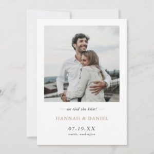 Simple modern elopement announcement flat cards with photo and gold names text.