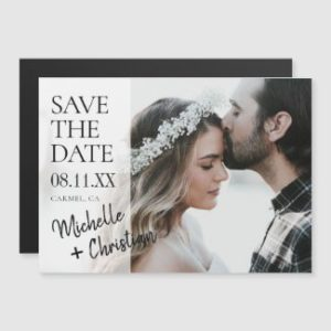 Custom save the date magnet with photo and modern script.