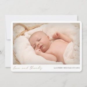 Custom photo baby shower thank you card in horizontal flat card format with modern gold script.