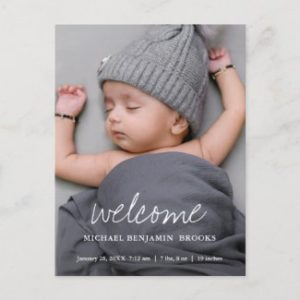 Baby photo announcement postcards with modern white welcome script.