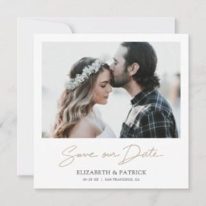 Elegant save the date cards with photo and gold script in a square format.