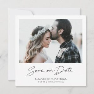 Elegant save the date invitations with photo and modern script.